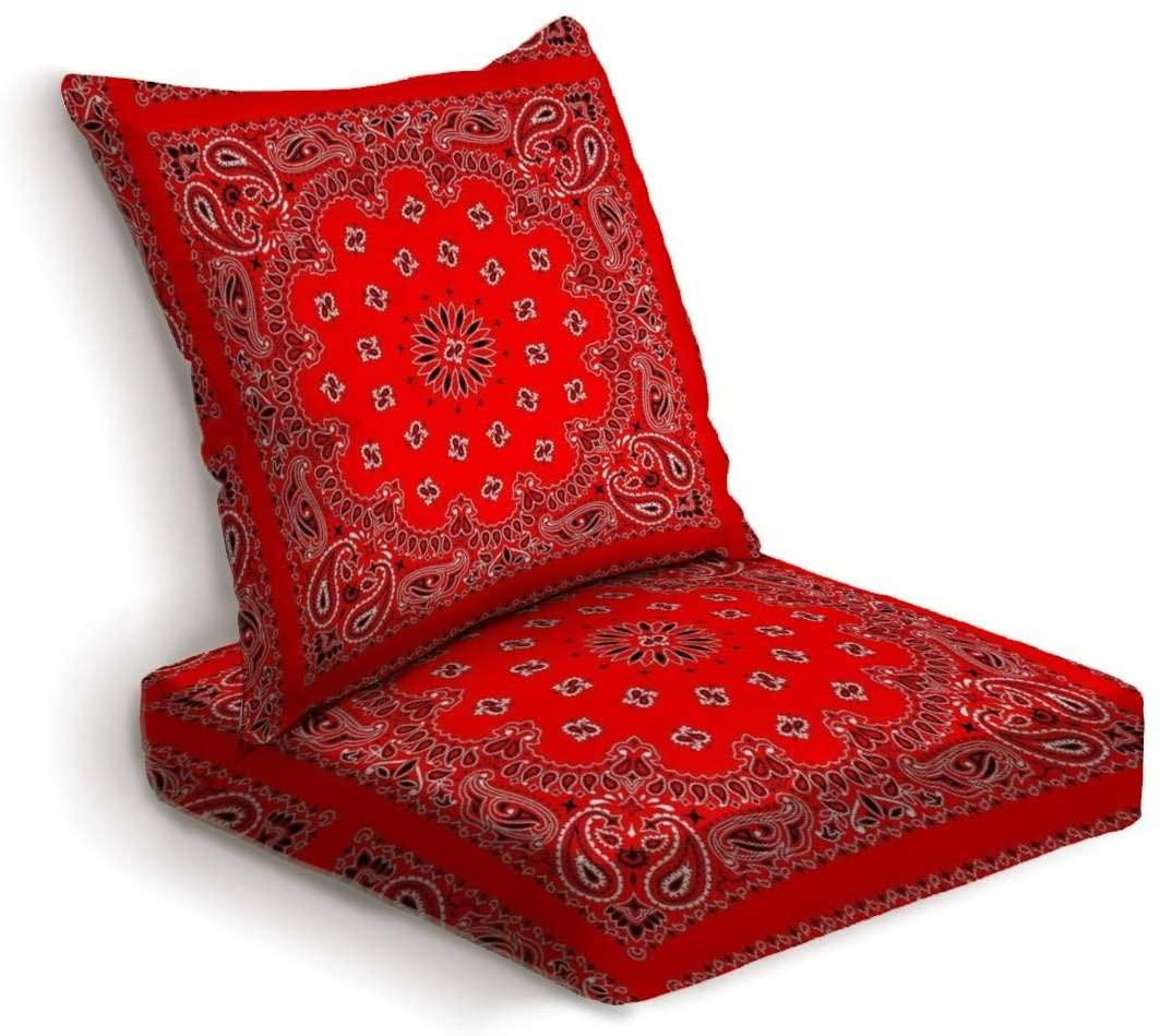 ONENPENRI 2-Piece Outdoor Deep Seat Cushion Set Red Bandana Back Seat Lounge Chair Conversation Cushion for Patio Furniture Replacement Seating Cushion