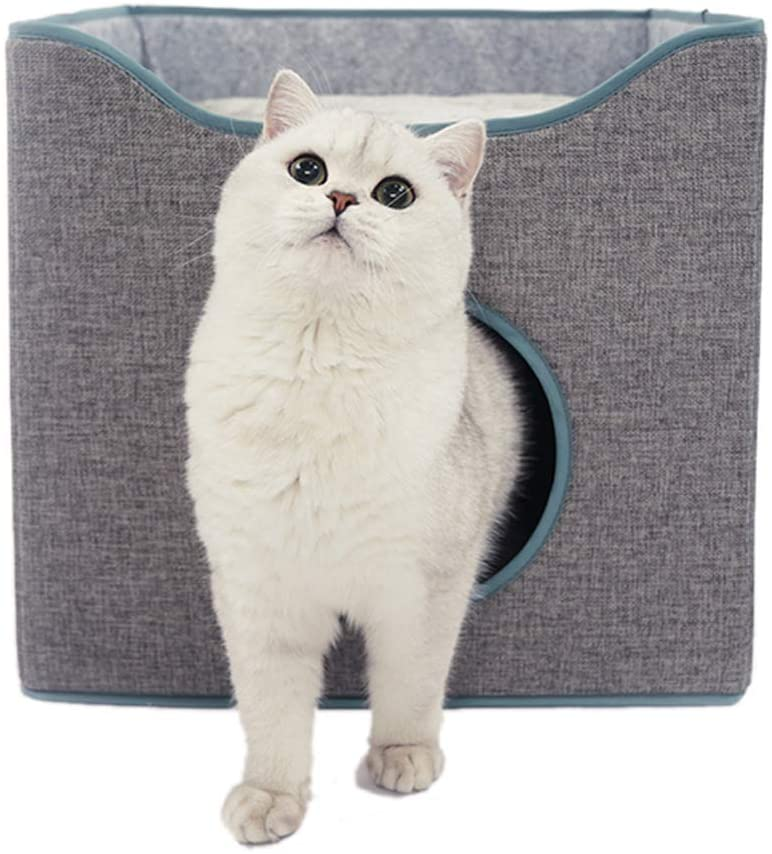 Tofern Foldable Cat House Cozy Cat Condo Reversible Cushion Cat Cube Scratch Resistant Cat Bed Cave Gray