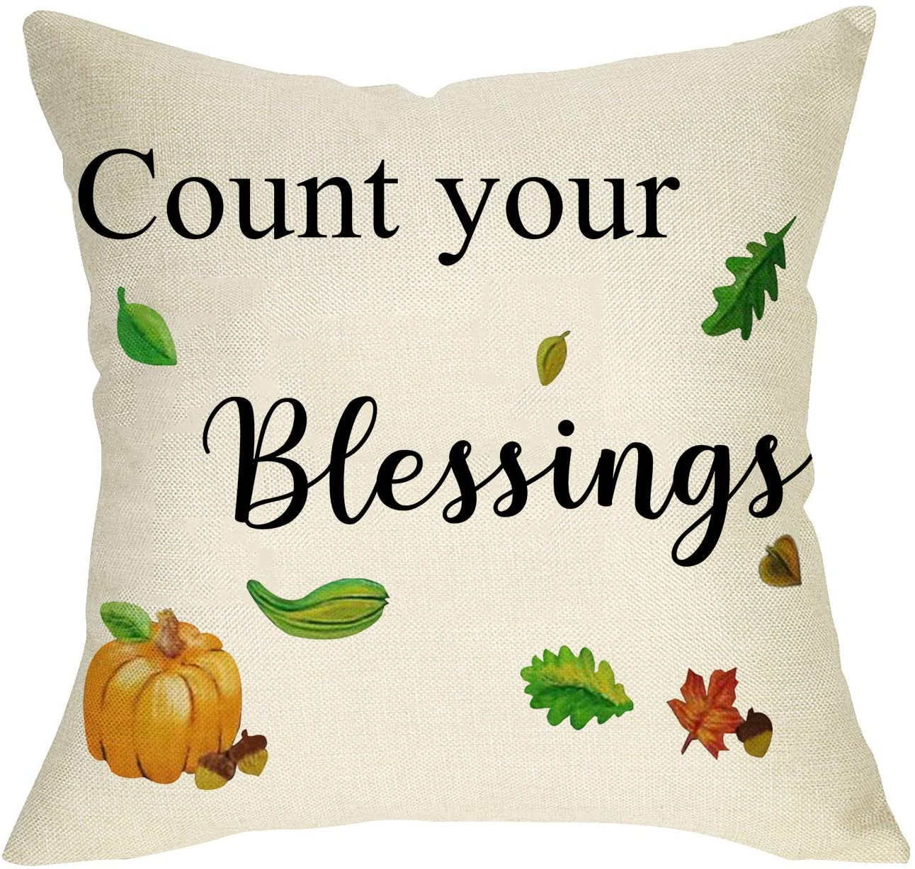 Softxpp Count Your Blessings Decorative Throw Pillow Cover, Farmhouse Quote Fall Pumpkin Cushion Case Seasonal Home Decorations Thanksgiving Square Pillowcase Autumn Decor for Sofa Couch 18 x 18 Inch