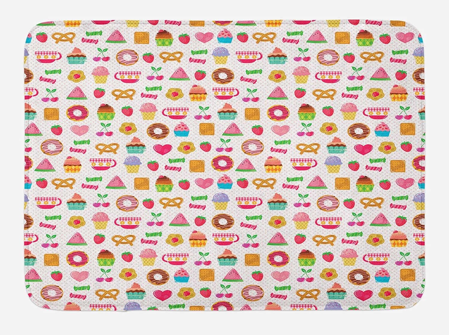 Ambesonne Tea Party Bath Mat, Sweets Candies Cookies Fruit and Other Things Cheerful Composition, Plush Bathroom Decor Mat with Non Slip Backing, 29.5
