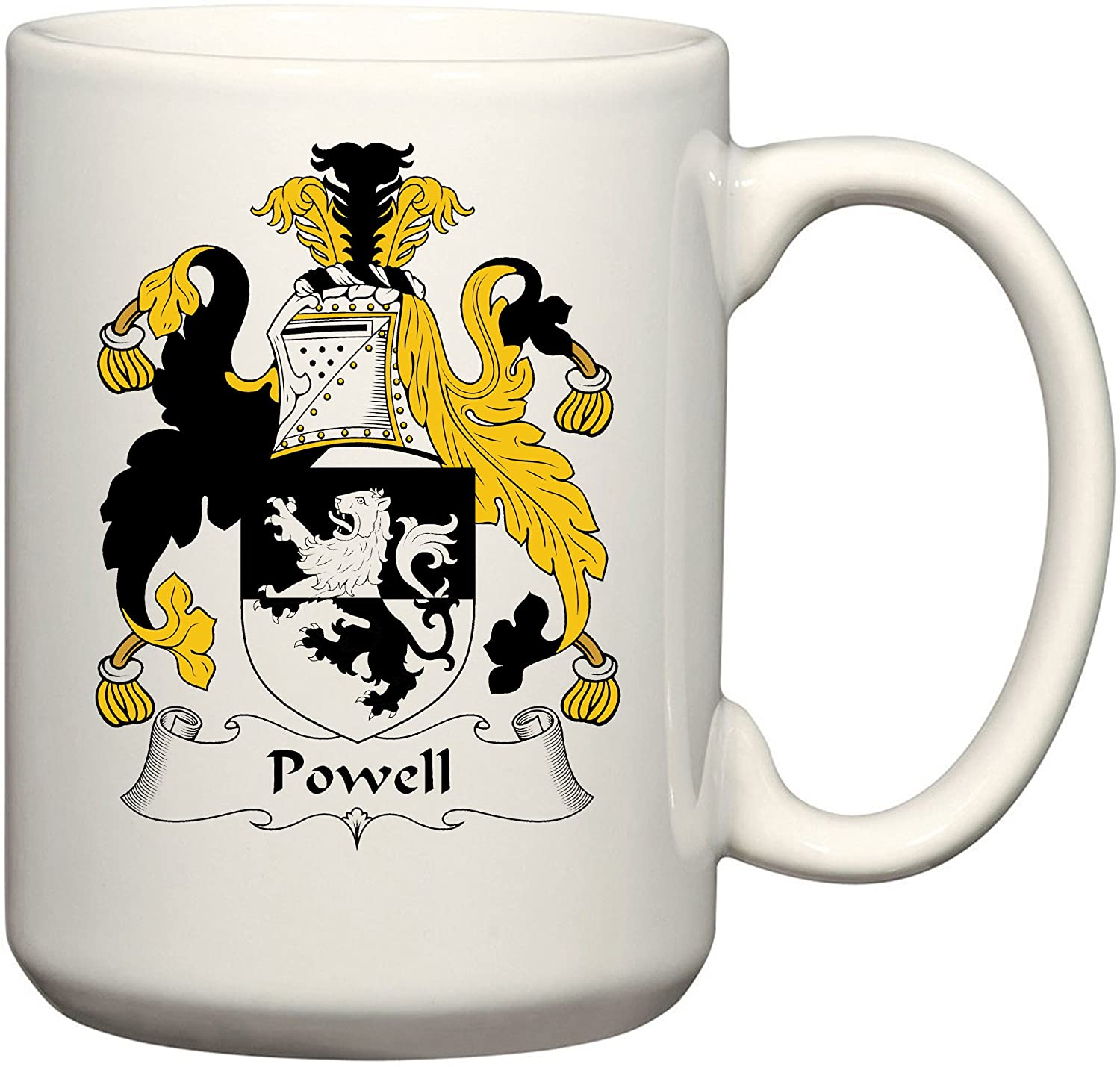 Powell Coat of Arms/Powell Family Crest 15 Oz Ceramic Coffee/Cocoa Mug by Carpe Diem Designs, Made in the U.S.A.