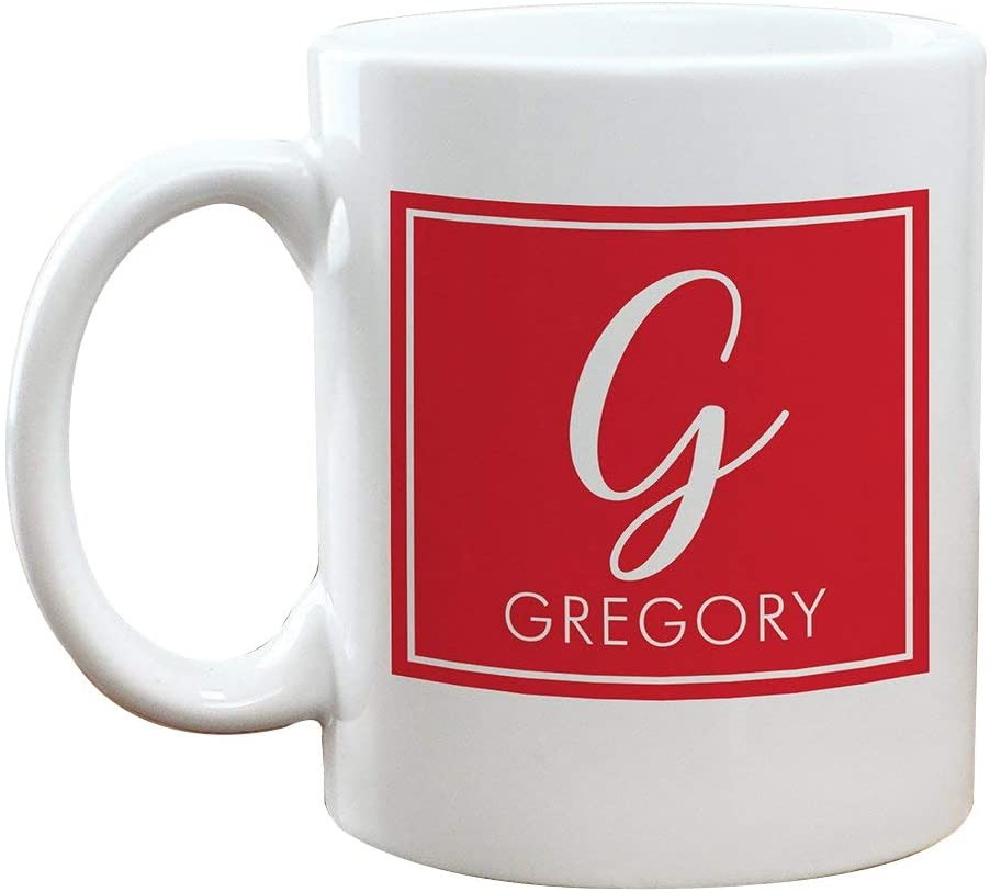 GiftsForYouNow Square with Initial Personalized Coffee Mug, Red