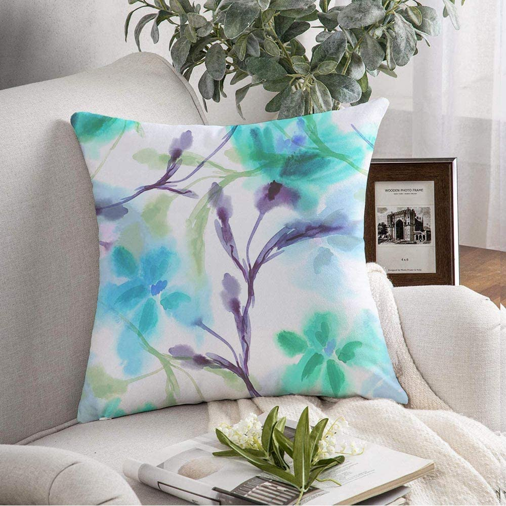 Decorative Pillow Cover Cushion Cover Spring Drawn Watercolor Drawing Flowers White Wet Blue Hand Leaves Stylized Floral Color Water Day Soft Square Pillowcase for Sofa Living Room 18x18 Inch