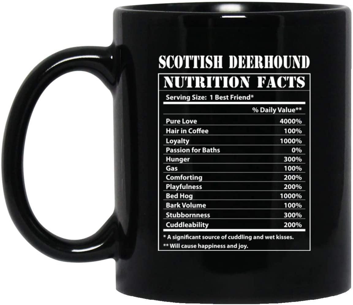 Funny Scottish Deerhound Nutritional Facts Black Coffee Mug 11oz
