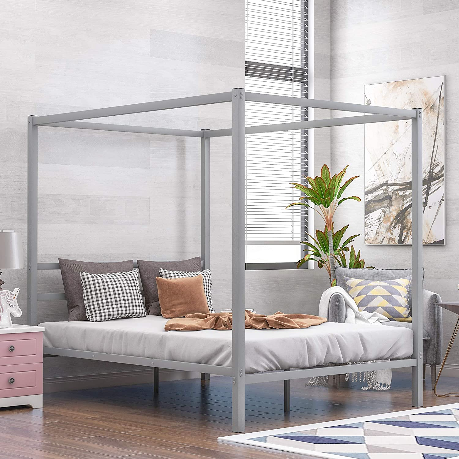 Queen Canopy Bed Frame, Metal Framed Canopy Platform Bed with Built-in Headboard, No Box Spring Needed, Silver