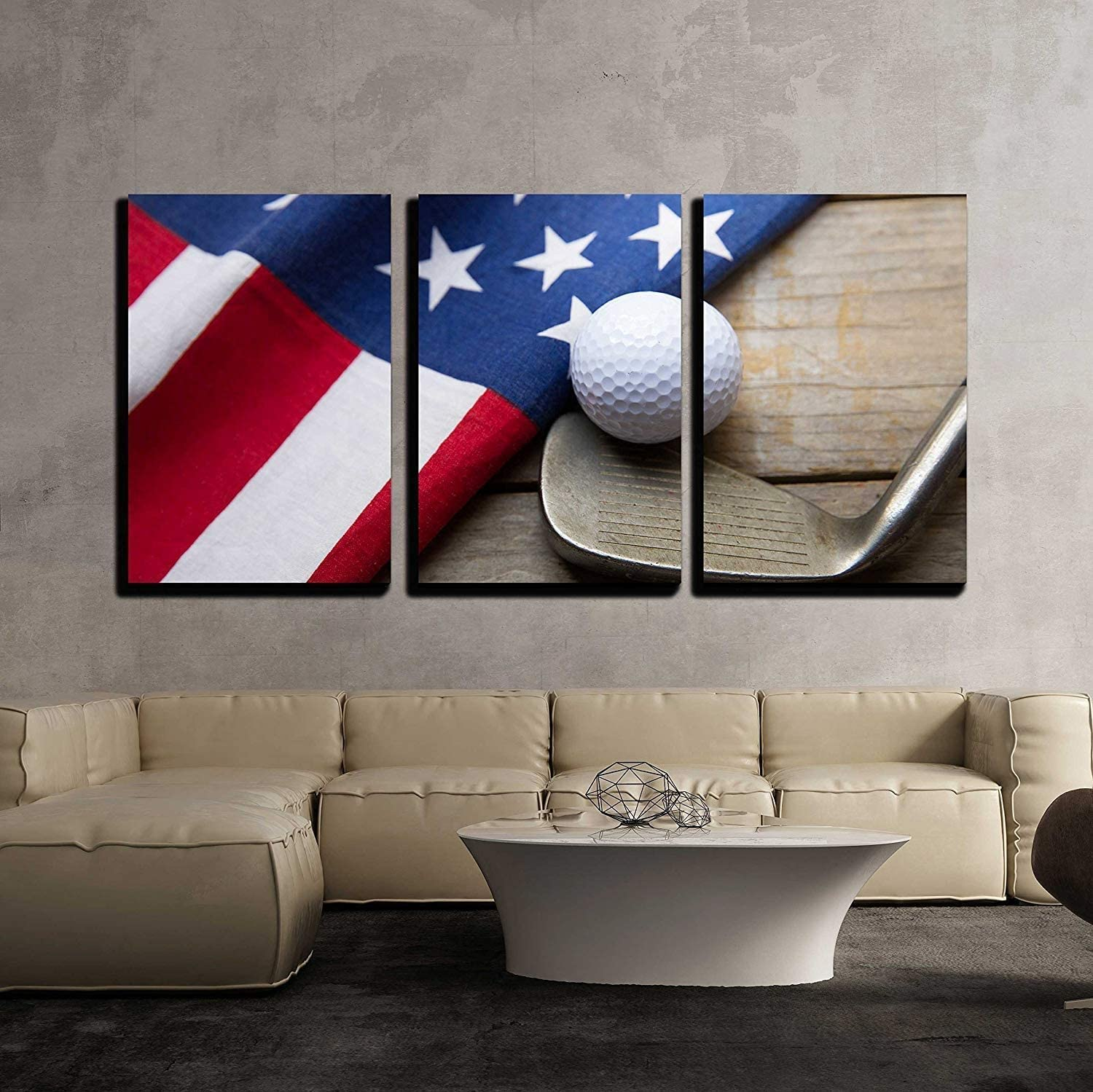 wall26-3 Piece Canvas Wall Art - Golf Ball with Flag of USA on Wood Table - Modern Home Art Stretched and Framed Ready to Hang - 24