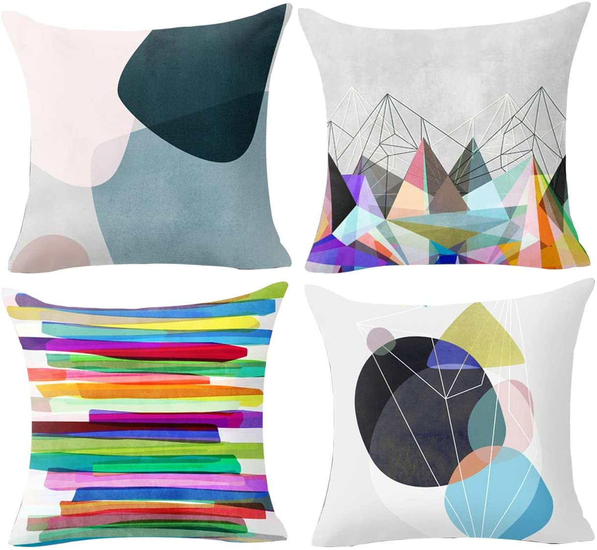 Treely Decorative Pillow Covers 18x18 Inches Geometric Throw Pillow Cover, Colorful, 4 Pack