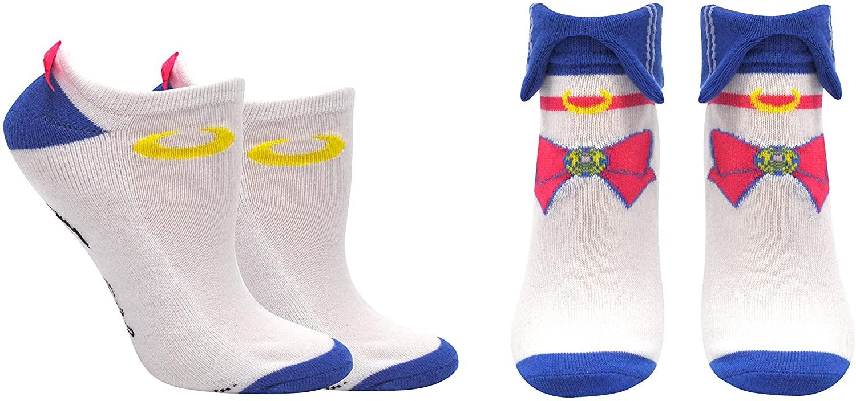 Sailor Moon Socks Gifts (2 Pair) - (Women) Sailor Moon Cosplay Low Cut Socks - Fits Shoe Size: 4-10 (Ladies)