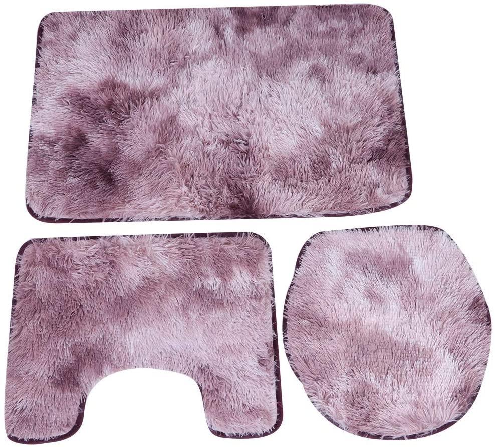 3Pcs Contour Rug, Washable Quick Dry Polyester Fiber+PVC Toilet Lid Cover, for Bathroom(Rose Purple)