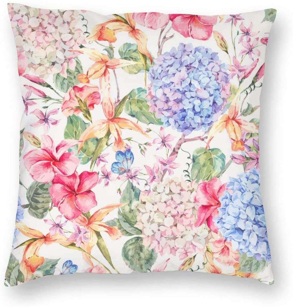 Teesofun Square Vintage Floral Decorative Throw Pillow Cases Soft Polyester Outdoor Cushion Covers 18 X 18 inch for Sofa Bedroom Throw Cushion Cover Couch Chair Back Seat