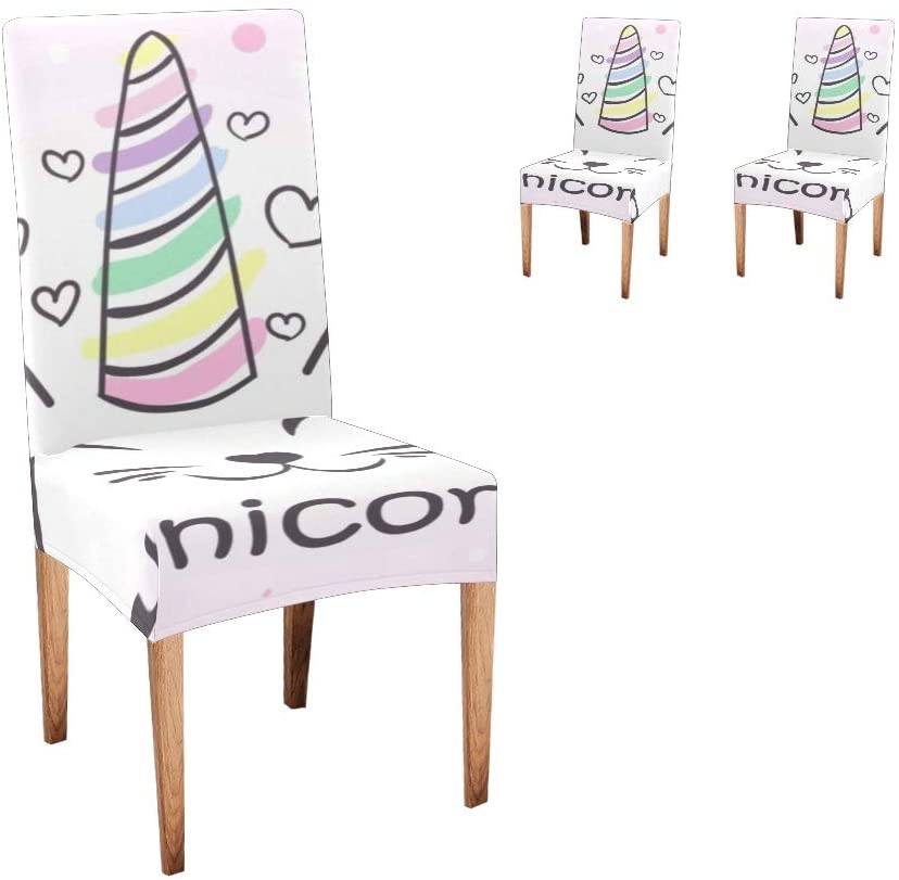 CUXWEOT Chair Covers for Dining Room,Custom Funny Unicron Pink Protector Comfort Soft Seat Covers Slipcovers for Party Decor (Set of 2)