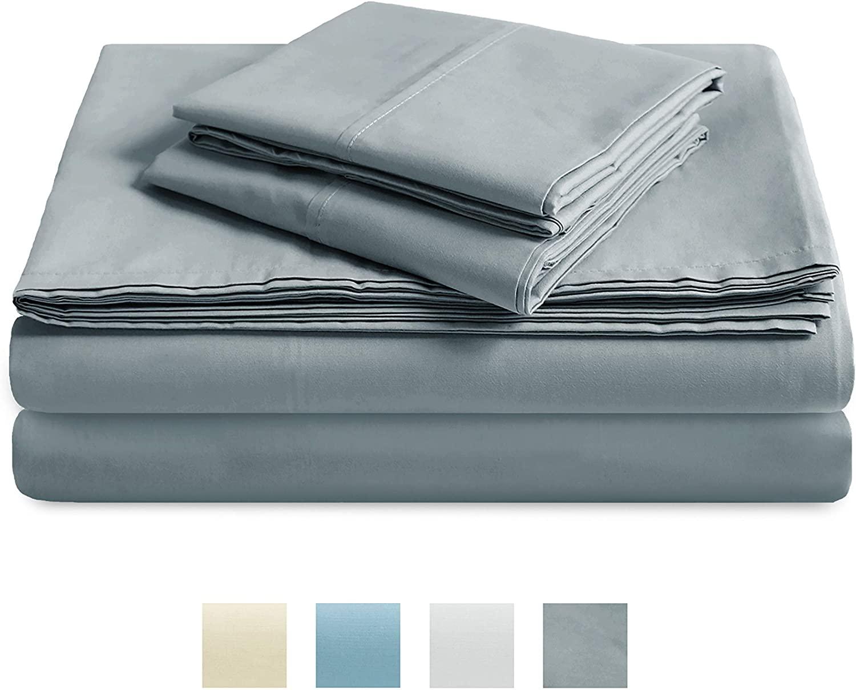 TRIDENT 300 Thread Count Sheet Set, 100% Cotton, Percale Weave, Peach Finish, 4 Piece Sheet Set, deep Pocket fits 16