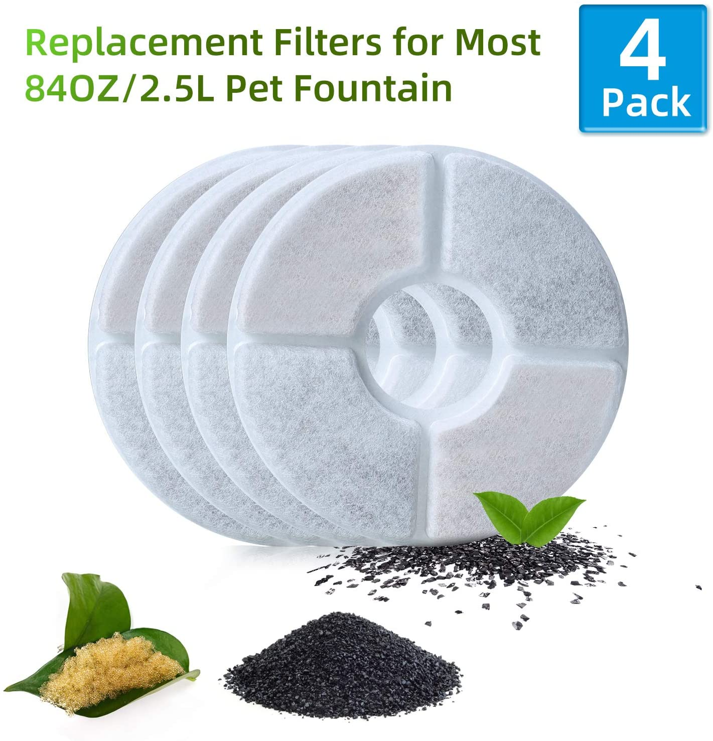 Pidsen Cat Water Fountain Filters, Pet Fountain Filter Triple Filtration System Replacement Filter, Concentrated Carbon Technology Filters for Automatic Flower Water Dispenser