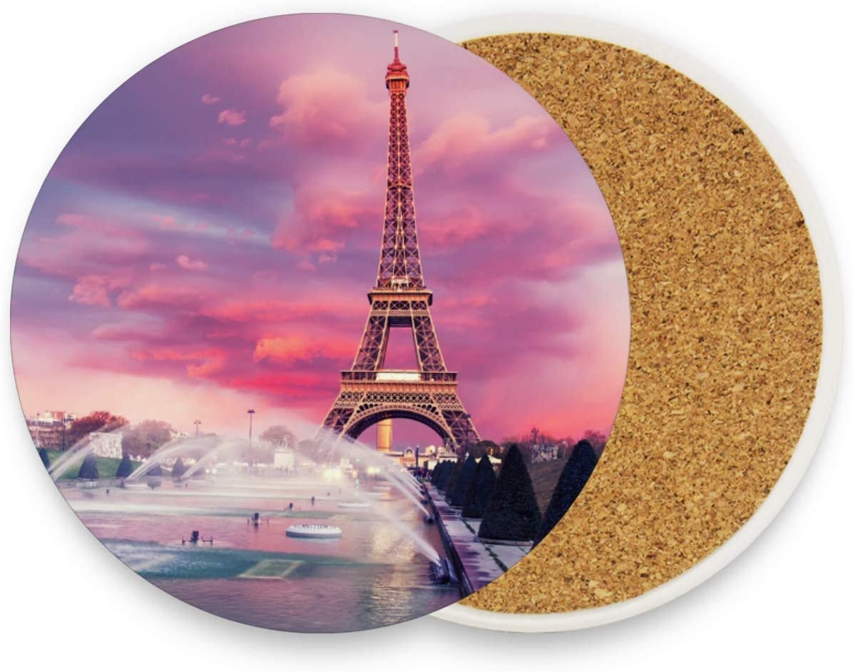 visesunny Eiffel Tower Sun Set Drink Coaster Moisture Absorbing Stone Coasters with Cork Base for Tabletop Protection Prevent Furniture Damage, 4 Pieces