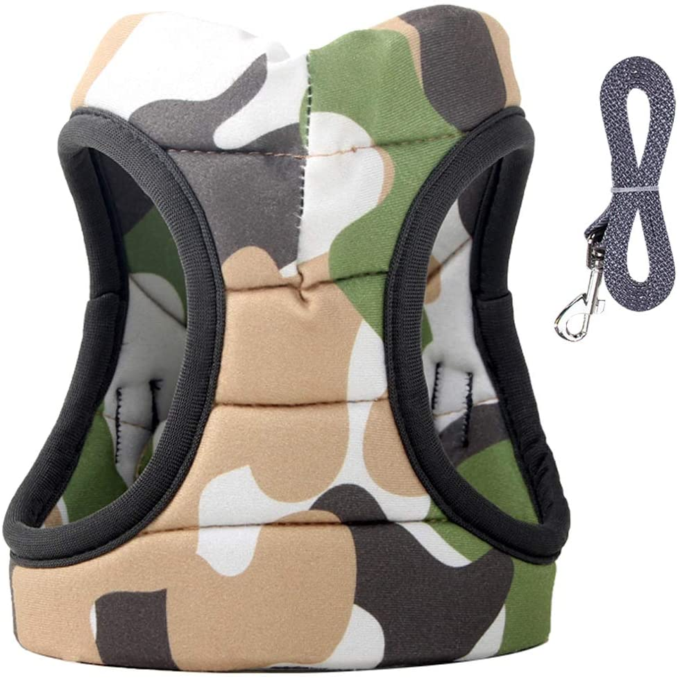 OLSCROM Cat Harness and Leash Set - Escape Proof Adjustable for Outdoor Walking Jacket with Safety Buckle, Camouflage