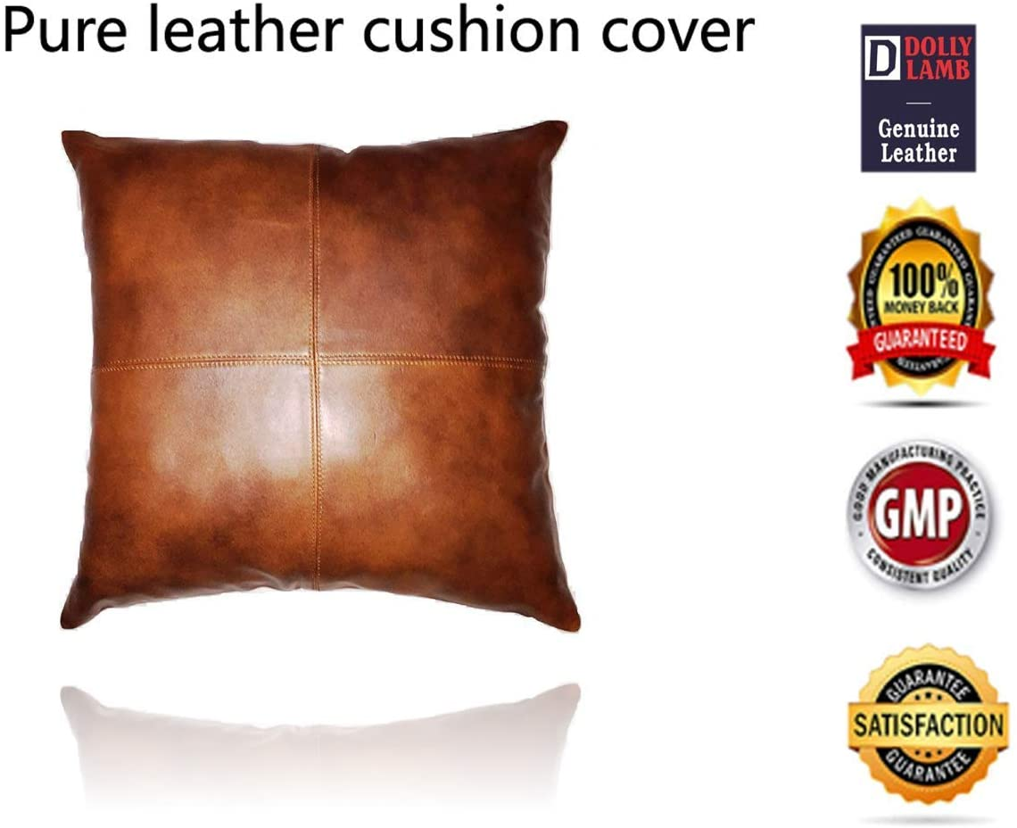 DOLLY LAMB 100% Lambskin Leather Pillow Cover - Sofa Cushion Case - Decorative Throw Covers for Living Room & Bedroom - 16x16 Inches - Mango Tan Antique Pack of 1