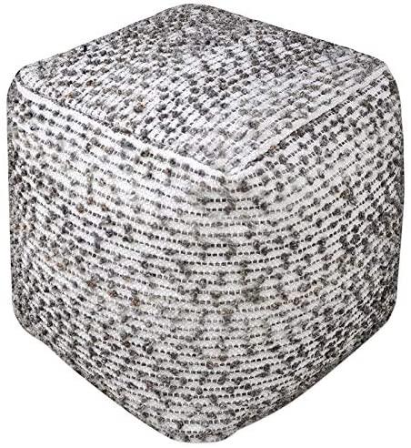 Uttermost Valda Linen Wool Pouf in Beige and Dark Gray