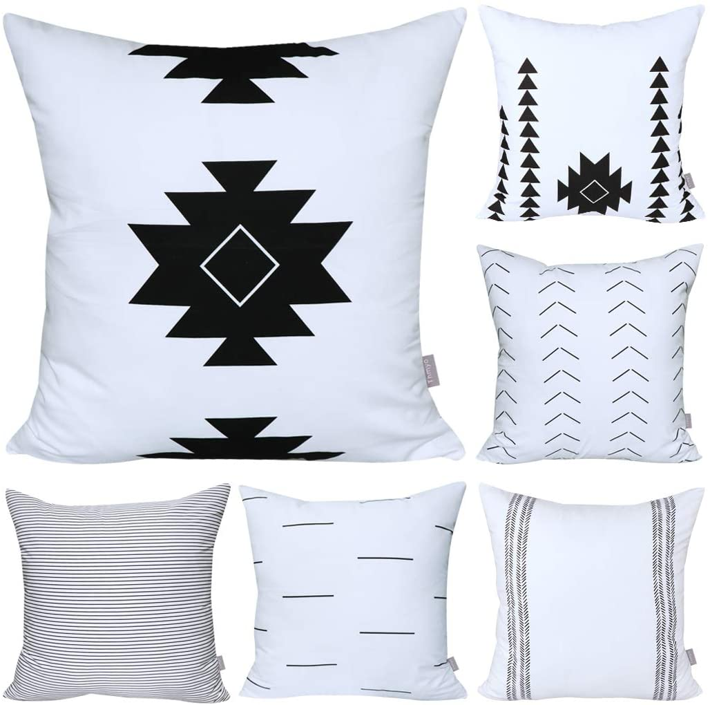 6 Pack Cotton Geometric Comfortable Decorative Throw Pillow Case Square Cushion Cover Pillowcase (Cover Only,No Insert)(18x18 inch/ 45x45cm, White&Black)