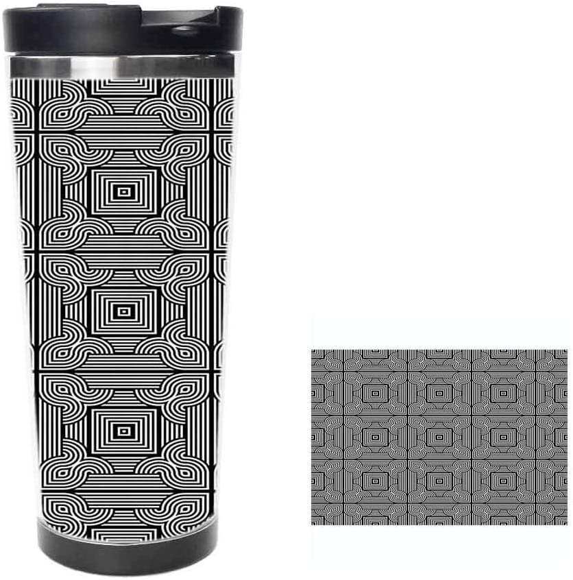 Stripy Geometrical Pattern with Swirling Motifs and Square Shapes TileCoffee Cup,Drinking Cup, Female Male,Double stainless steel vacuum insulation,Thermos cup-14 oz-397ML