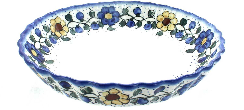 Blue Rose Polish Pottery Geranium Pie Plate