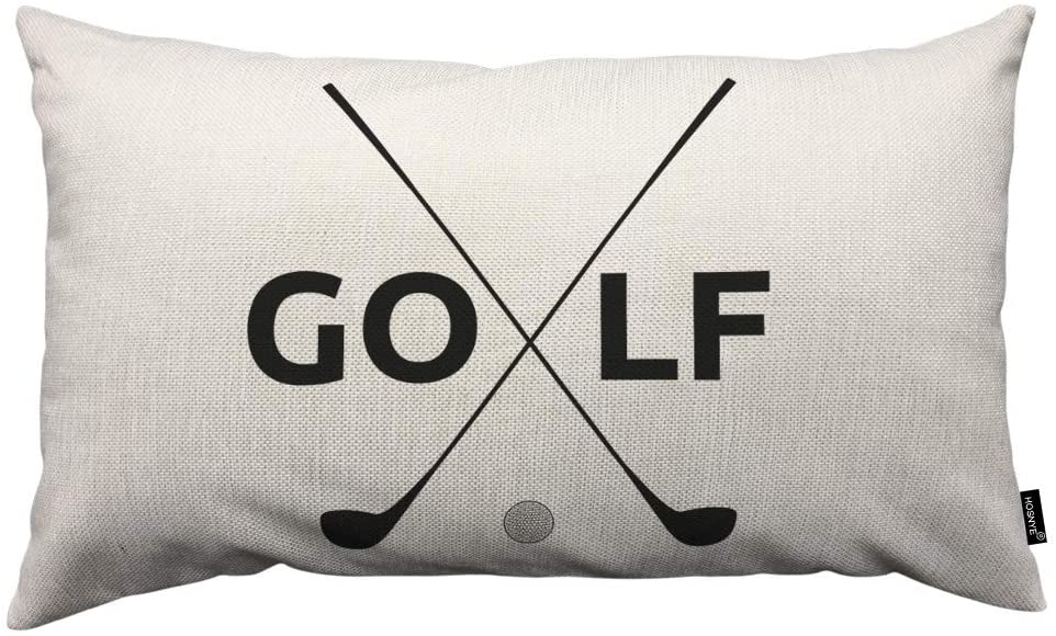 HOSNYE Golf Symbol Throw Pillow Cover Linen Fabric for Couch Bed Sofa Car Waist Cushion Cover 12 x 20 inch Pillow Case