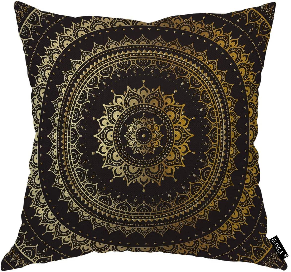EKOBLA Vintage Background Throw Pillow Covers Golden Copper Sliver Diamond Leaves Ethnic Geometry Circle Decorative Square Cushion Case for Men Women Boys Girls Home Decor Cotton Linen 16x16 Inch