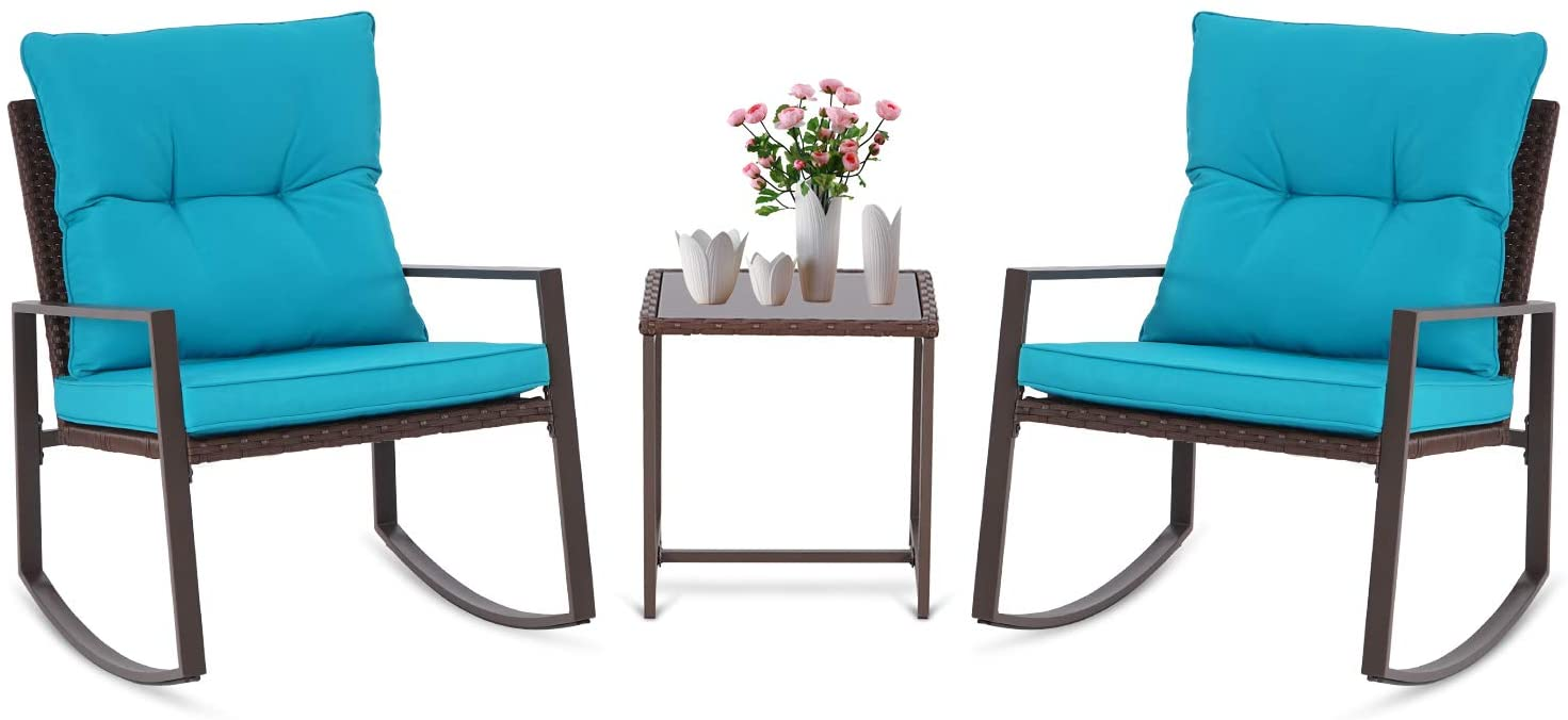 Patiomore 3 Pieces Outdoor Rocking Chair Patio Furniture Bistro Set Brown Wicker Brown Furniture,Two Chairs with Tempered Glass Coffee Table (Light Blue Cushion)