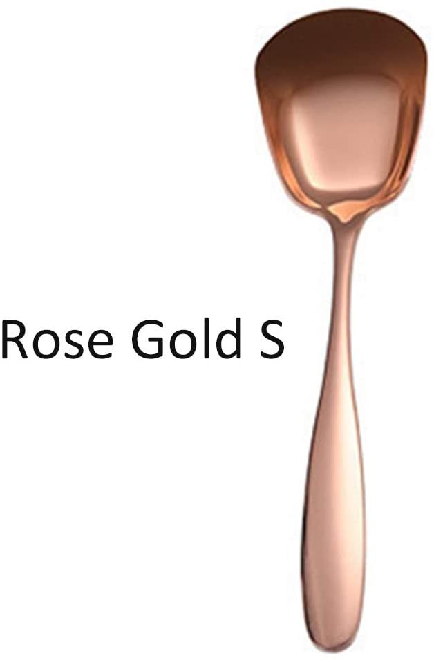 heiyun Stainless Steel Round Soup Spoon Ice Cream Salad Child Plat Bottom Drink Rice Tableware Spoon(Rose Gold S)