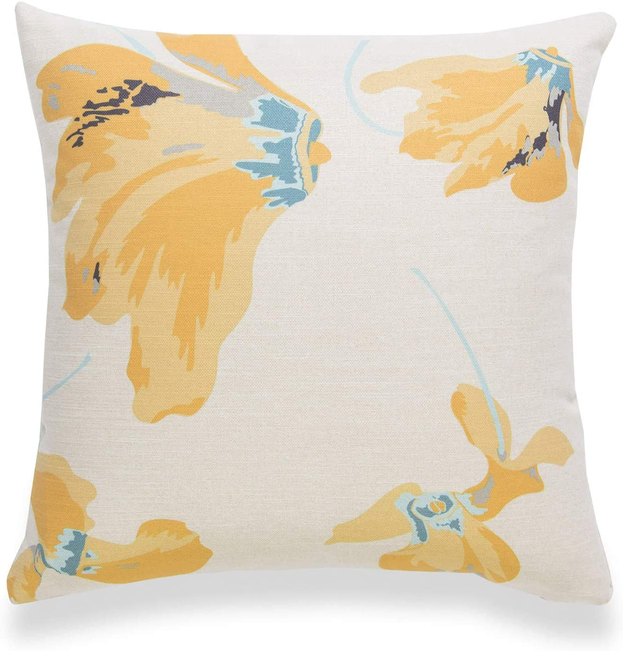 Hofdeco Spring Decorative Throw Pillow Cover ONLY, for Couch, Sofa, Bed, Yellow Floral, 18x18
