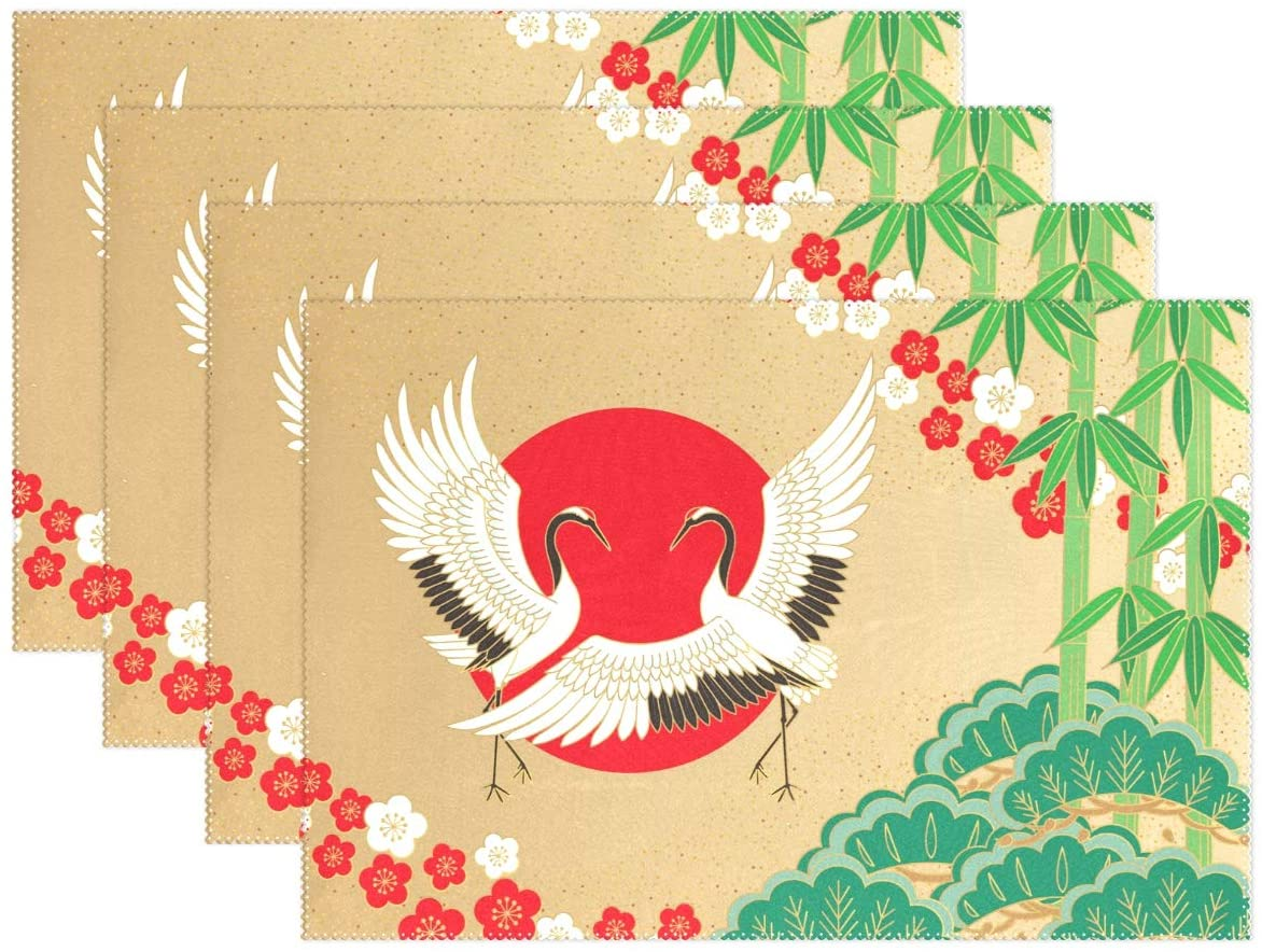 Yochoice ALAZA Retro Japanese Cranes and Bamboo Plum Placemat Plate Holder Set of 4, Polyester Table Place Mats Protector for Kitchen Dining Room 12