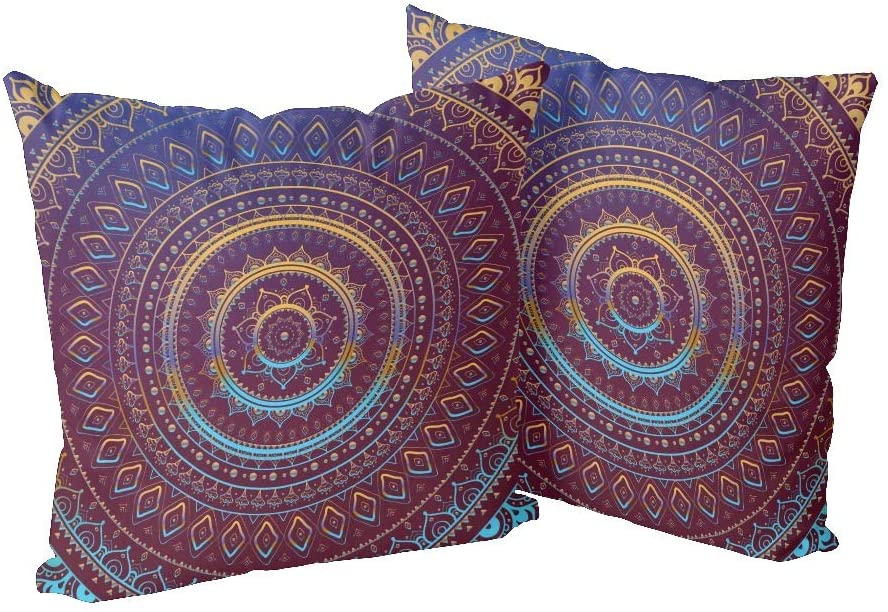 CUXWEOT Pillow Case Pillowcase Zippered Pillow Cases Protector Cover Size 18x 18 inchEthnic Tribal Mandala