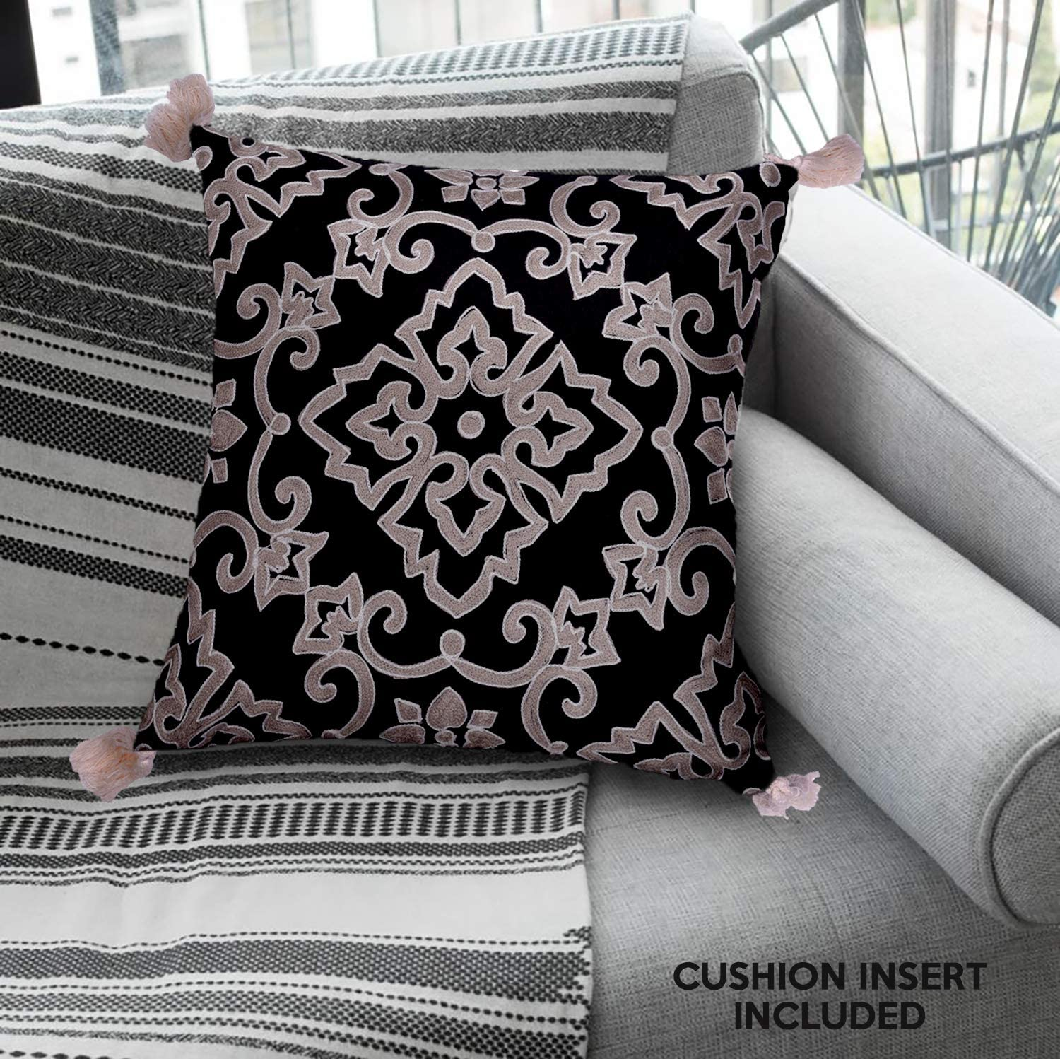 Decozen Decorative Throw Pillow 18x18 in with Insert in 1 Set Embroidered Traditional Pattern for Couch Sofa Bed Living Room Bedroom Indoor Patio