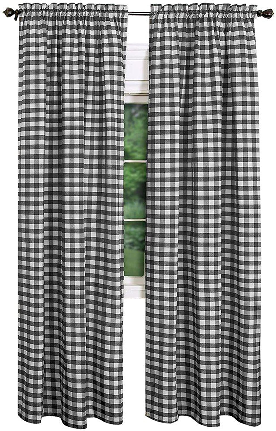 AK-Trading - Set of 2 Pcs. - Buffalo Check Plaid Gingham Window Curtain Treatments 100% Polyester Checker Plaid Window Curtain Panel - Made in USA - 54 inches x 72 inches - Black