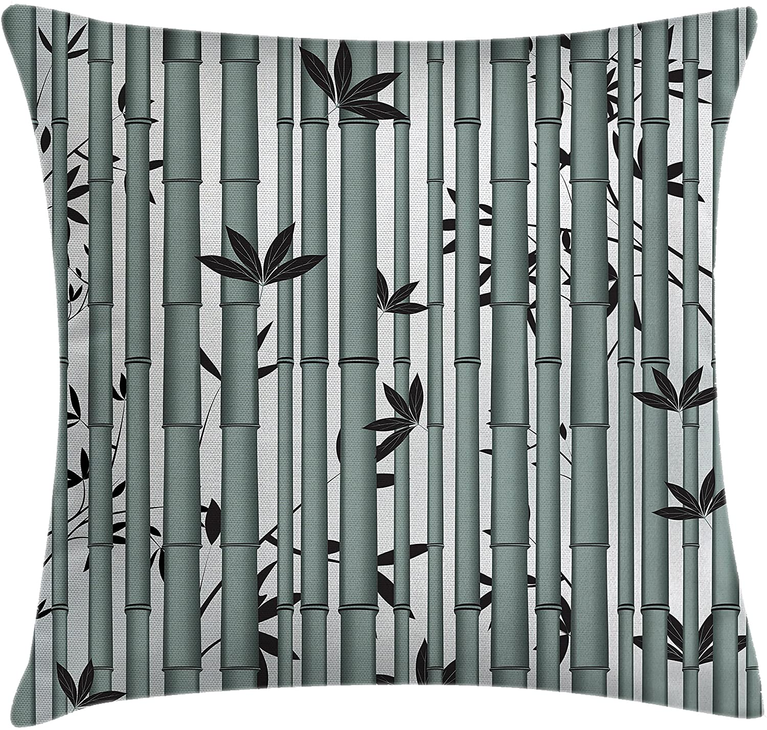 Ambesonne Nature Throw Pillow Cushion Cover, Tree Flower Wildlife Panda Food Bamboo with Leaf and Branches Print, Decorative Square Accent Pillow Case, 16 X 16, Bluegrey Dimgrey