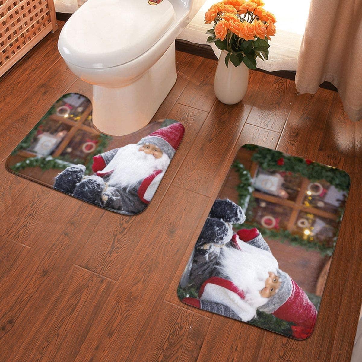 Santa Claus Figurines Soft Flannel Bathroom Rugs Non Slip 2-Piece Bath Mat Set Super Absorbent Bath Rug + U-Shaped Contour Toilet Mat