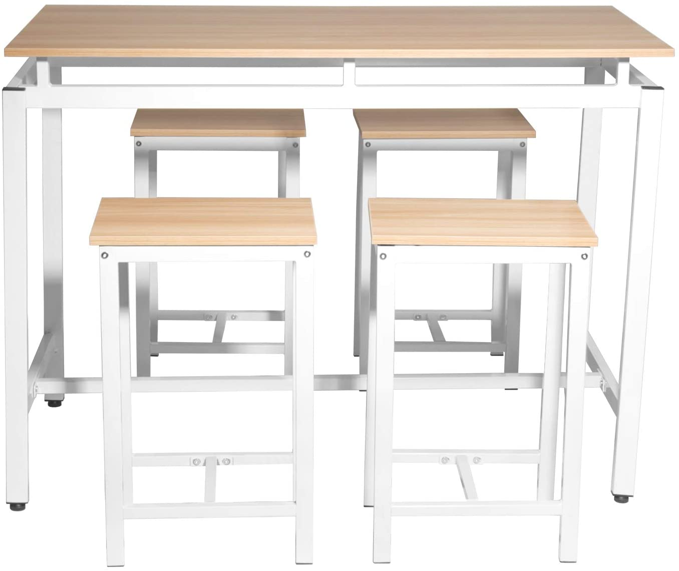 Knocbel Industrial Dining Table Set for 4, Counter Height Kitchen Dining Room Set with Metal Frame (Beige and White)