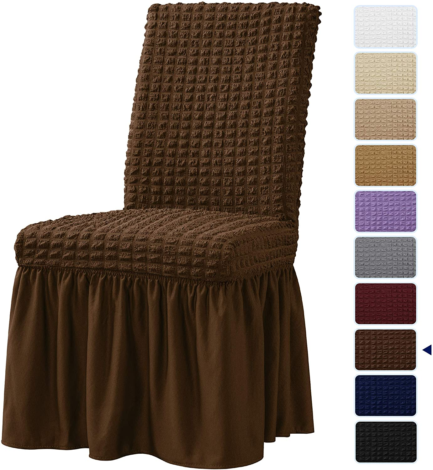subrtex 2 Pcs Stretchy Dining Room Chair Covers with Long Skirt, Removable Washable Universal Anti-Dirty Parsons Slipcovers for Home Kitchen Party (2, Chocolate)