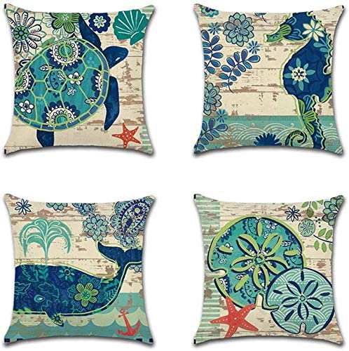 Faromily Ocean Animals Throw Pillow Cases Vintage Wood Starfish Whale Turtle Seahorse Home Decor Mediterranean Style Cushion Covers Cotton Linen Throw Pillow Covers 18 x 18 inch Set of 4