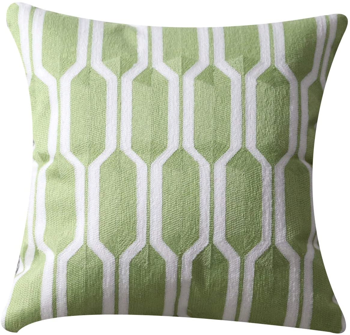 UnionKK Home Decoration 100% Cotton Canvas Sofa Decorative Pillow Covers Embroidery Geometric Throw Pillowcase Cushion Cover Stereoscopic Embroidered Pillow Covers Sofa Bed 18 x 18 inches (Green)