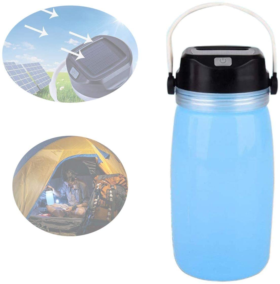 MUXAN LED Solar Kettle Camping Lamp, Silicone Solar Water Bottle Night Light Camping Lantern USB Rechargeable for Daily Drinking Hiking Outdoor Camping Travel