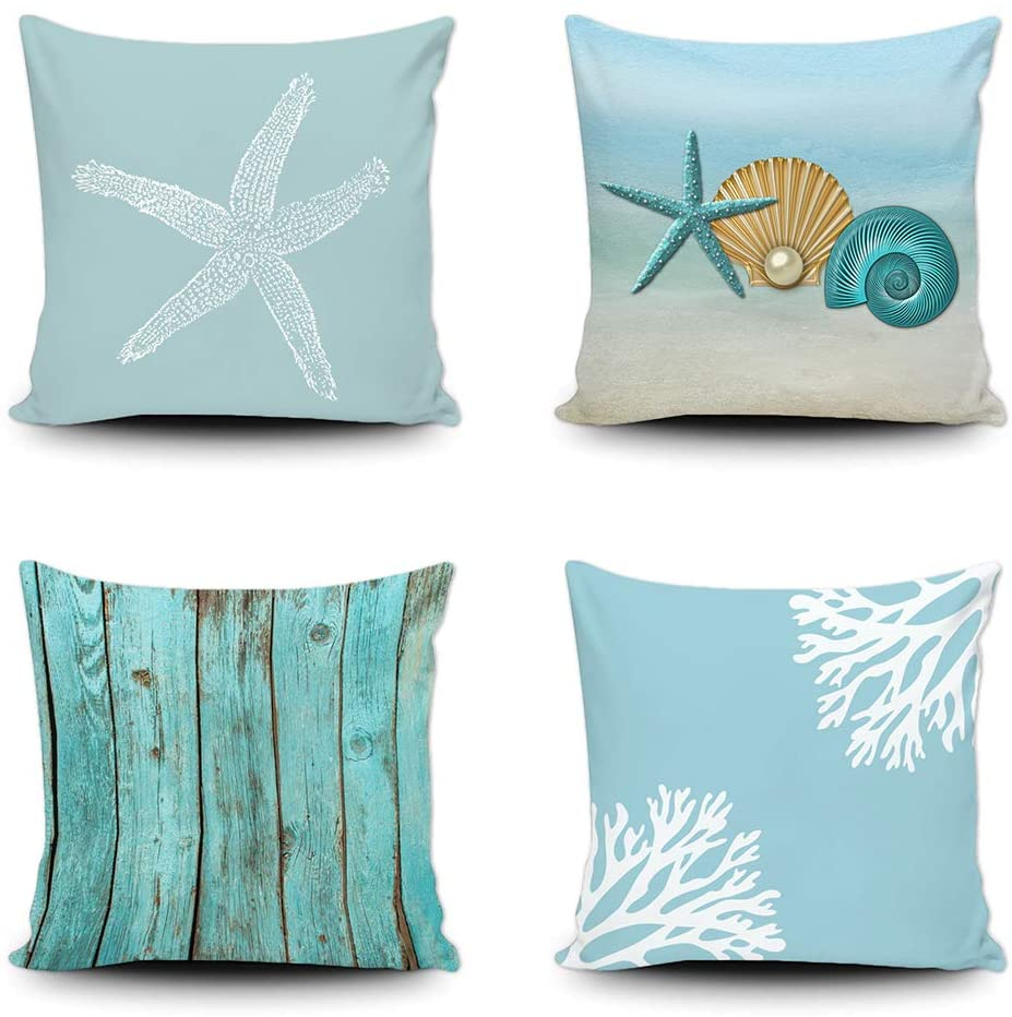 SVITFAMLI Set of 4 Throw Pillow Covers Blue Beach Starfish Conch Coral Wooden Decorative Pillow Case Home Decor Square 18 x 18 Inches Pillowcase for Sofa Couch