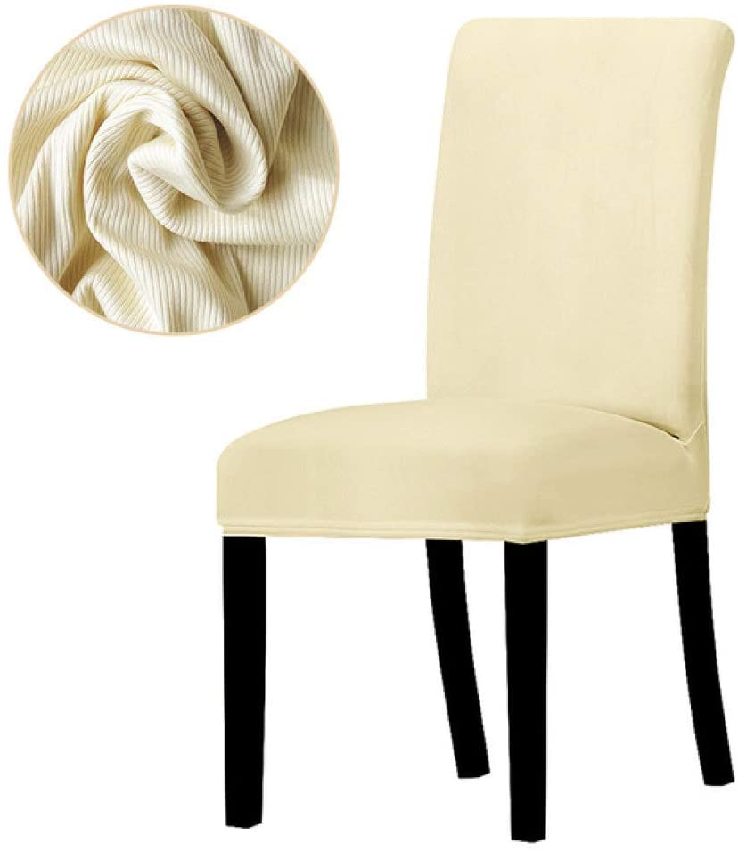 BERTERI Striped Fabric Solid Color Chair Cover Elastic Stretch Dining Chair Slipcover for Banquet Hotel Office Home Wedding Decoration