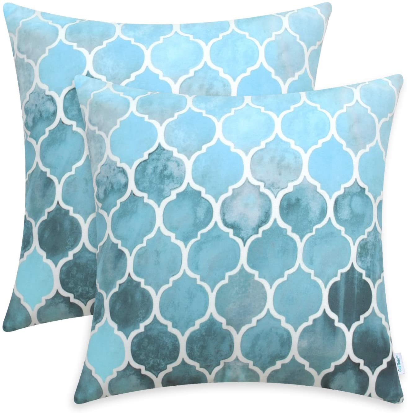 CaliTime Pack of 2 Cozy Throw Pillow Cases Covers for Couch Bed Sofa Farmhouse Manual Hand Painted Colorful Geometric Trellis Chain Print 22 X 22 Inches Main Sky Blue & Smoke Blue
