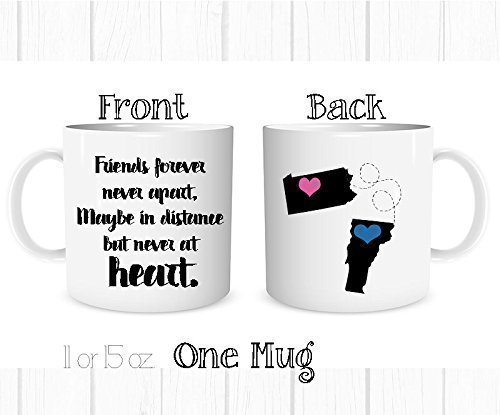 Personalized Best Friend Gift Long Distance Coffee Mug - All States and Countries