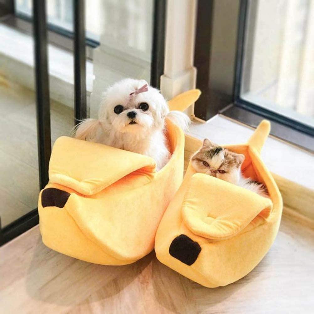 eujwtunxm Deluxe Pet Beds Creative Banana Shape Pet Dog Cat Nest Soft Winter Puppy Kitten Warm House Bed