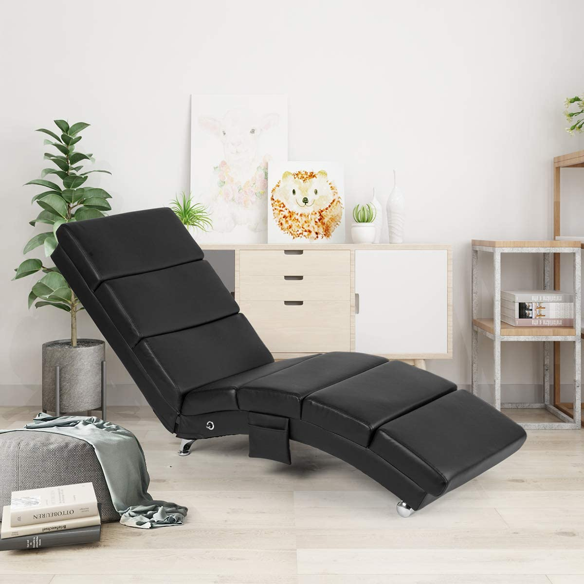 YOLENY Synthetic Leather Chaise Lounge with Massage Function,Massage Chair (Black)