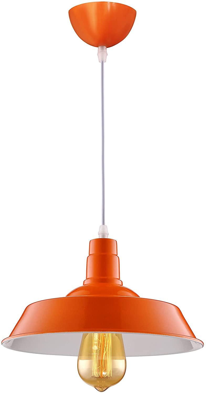BAYCHEER HL416373 Industrial Retro Style Wrought Iron Large Pendant Light Lamp Modern Chandelier 1 Light for Barn Warehouse Restaurant, Orange 10.24inch
