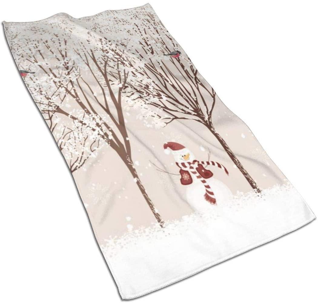 ~ Snowman Beautiful House Snowflake Trees Hand Towels for Bathroom 27.5'' X 15.7'' Soft Microfiber Towel Christmas Elements Set Small Bath Towels Kitchen Dish Towel