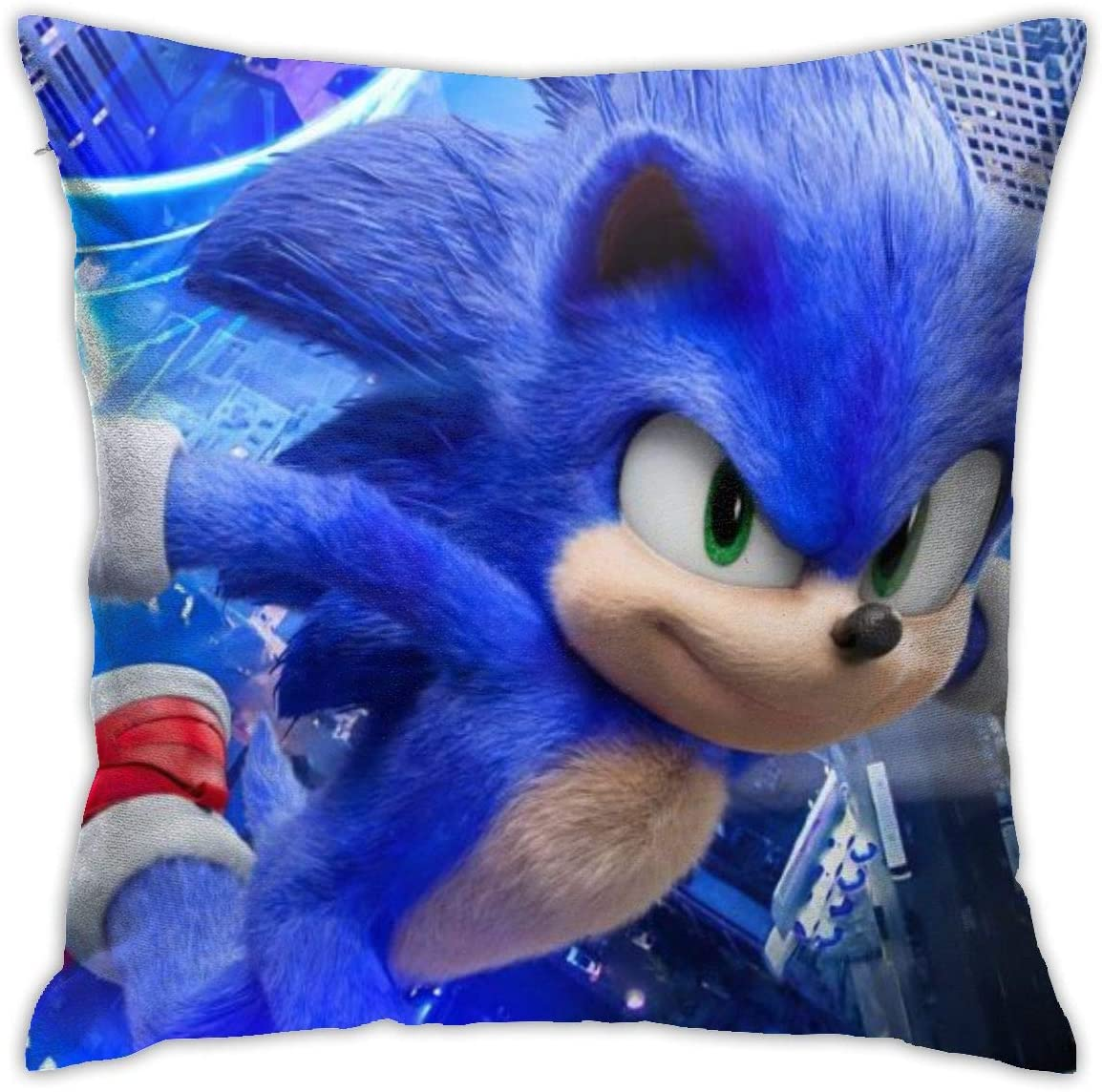 NYF Sonic The Hedgehog Pillow Case Both Sides Print Zipper Square Pillow Cover, Soft Comfortable Throw Pillowcase Cushion Cover 18 x 18 Inch