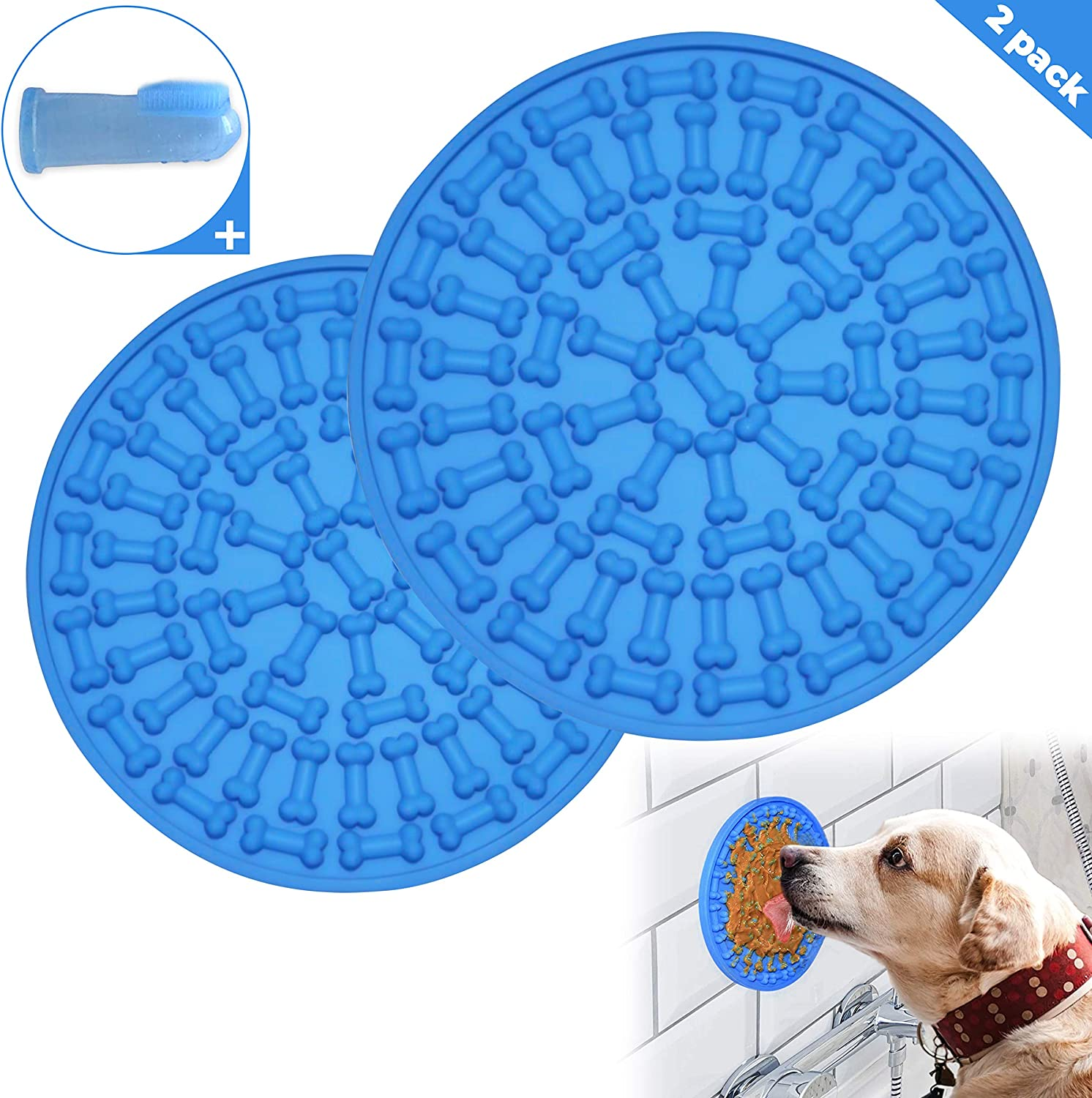 CM Dog Lick Mat Pad Plus Toothbrush, Washing Distraction Device,Slow Feeder Treat Dispensing Licking Mats Helps Hyper Pet for Anxiety Mental Stimulation Toy,Buddy Products Training Lickimat
